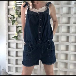 Levi's Denim Romper Shortalls Sz L Dark Wash